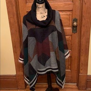 Free People multi colored Cowl-neck Poncho